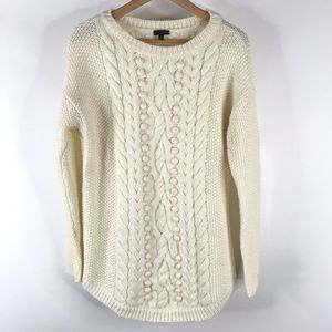 Talbots Sweater Fisherman Cable Knit Wool ivory
